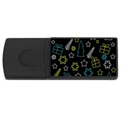Xmas pattern - Blue and yellow USB Flash Drive Rectangular (1 GB)