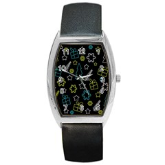Xmas pattern - Blue and yellow Barrel Style Metal Watch