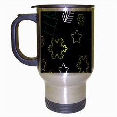 Xmas pattern - Blue and yellow Travel Mug (Silver Gray)