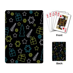 Xmas pattern - Blue and yellow Playing Card