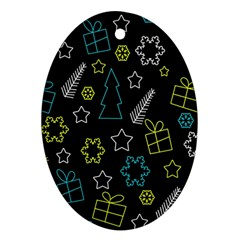 Xmas pattern - Blue and yellow Oval Ornament (Two Sides)