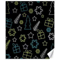 Xmas pattern - Blue and yellow Canvas 8  x 10