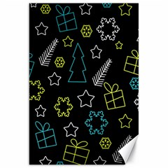 Xmas pattern - Blue and yellow Canvas 20  x 30