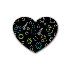 Xmas pattern - Blue and yellow Rubber Coaster (Heart)