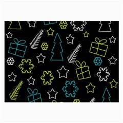 Xmas pattern - Blue and yellow Large Glasses Cloth (2-Side)