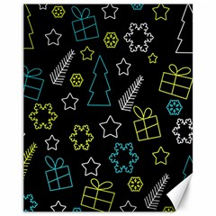 Xmas pattern - Blue and yellow Canvas 11  x 14