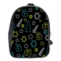 Xmas pattern - Blue and yellow School Bags(Large)