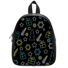 Xmas pattern - Blue and yellow School Bags (Small)