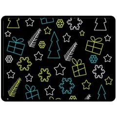 Xmas pattern - Blue and yellow Fleece Blanket (Large)