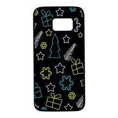 Xmas pattern - Blue and yellow Samsung Galaxy S7 Black Seamless Case