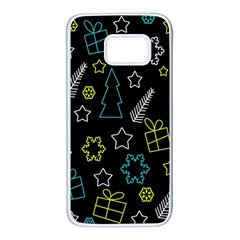 Xmas pattern - Blue and yellow Samsung Galaxy S7 White Seamless Case