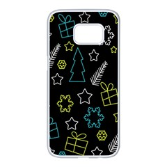 Xmas pattern - Blue and yellow Samsung Galaxy S7 edge White Seamless Case