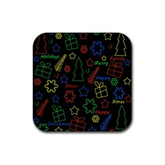 Playful Xmas pattern Rubber Square Coaster (4 pack)
