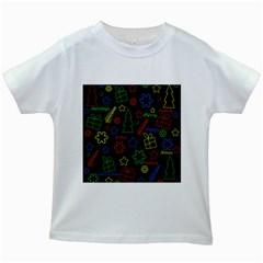 Playful Xmas pattern Kids White T-Shirts
