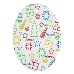 Simple Christmas pattern Ornament (Oval)