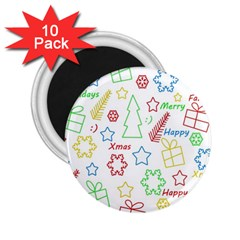 Simple Christmas pattern 2.25  Magnets (10 pack)