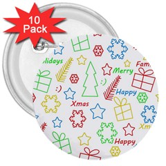 Simple Christmas pattern 3  Buttons (10 pack)