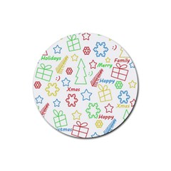 Simple Christmas pattern Rubber Coaster (Round)
