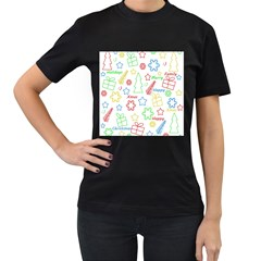 Simple Christmas pattern Women s T-Shirt (Black) (Two Sided)