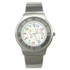 Simple Christmas Pattern Stainless Steel Watch