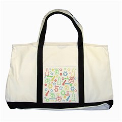 Simple Christmas pattern Two Tone Tote Bag