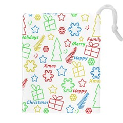 Simple Christmas pattern Drawstring Pouches (XXL)
