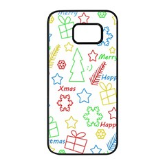 Simple Christmas pattern Samsung Galaxy S7 edge Black Seamless Case