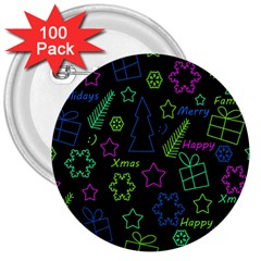 Decorative Xmas pattern 3  Buttons (100 pack)