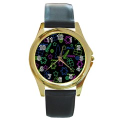 Decorative Xmas pattern Round Gold Metal Watch