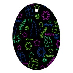 Decorative Xmas pattern Oval Ornament (Two Sides)