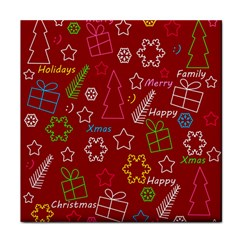 Red Xmas pattern Tile Coasters