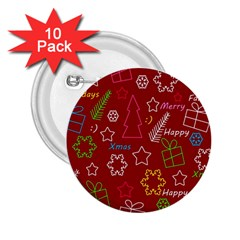 Red Xmas pattern 2.25  Buttons (10 pack)