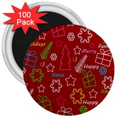 Red Xmas pattern 3  Magnets (100 pack)