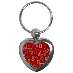 Red Xmas pattern Key Chains (Heart)