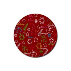 Red Xmas pattern Rubber Round Coaster (4 pack)