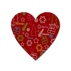 Red Xmas pattern Heart Magnet