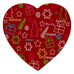 Red Xmas pattern Jigsaw Puzzle (Heart)
