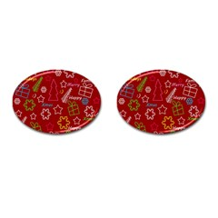Red Xmas pattern Cufflinks (Oval)