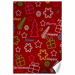 Red Xmas pattern Canvas 24  x 36