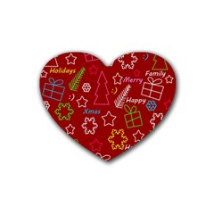 Red Xmas pattern Heart Coaster (4 pack)