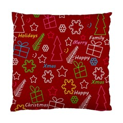 Red Xmas pattern Standard Cushion Case (One Side)