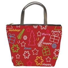 Red Xmas pattern Bucket Bags