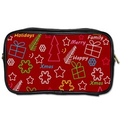 Red Xmas pattern Toiletries Bags