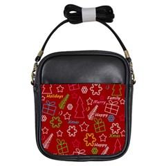 Red Xmas pattern Girls Sling Bags