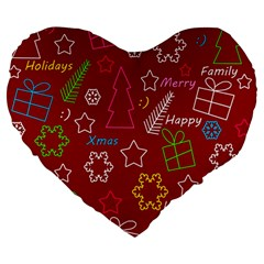 Red Xmas Pattern Large 19  Premium Heart Shape Cushions