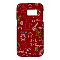 Red Xmas pattern Samsung Galaxy S7 Hardshell Case