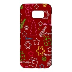 Red Xmas pattern Samsung Galaxy S7 Edge Hardshell Case
