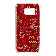 Red Xmas pattern Samsung Galaxy S7 White Seamless Case
