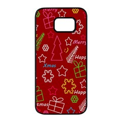 Red Xmas pattern Samsung Galaxy S7 edge Black Seamless Case