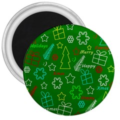 Green Xmas pattern 3  Magnets